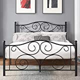 VECELO Metal Bed Frame Platform Mattress Foundation with Headboard & Footboard Box Spring Replacement, Heavy Duty & Quick Assembly, Queen, Black