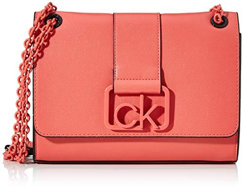 Calvin Klein - Ck Signature Conv Crossbody Md, Bolsos bandolera Mujer, Rojo (Coral), 1x1x1 cm (W x H L)