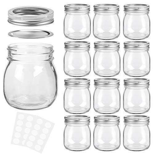 KAMOTA Mason Jars 10 oz With Regular Lids and Bands, Ideal for Jam, Honey, Wedding Favors, Shower Favors, Baby Foods, DIY Magnetic Spice Jars, 12 PACK, 20 Whiteboard Labels Included