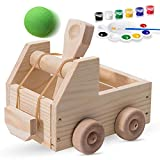 LATI DIY Truck Catapult Building Kit for Kids ; Children's Wood Construction Toy Beginning Woodworking Set with Paints and Balls Ages 5 – 12