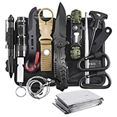 【Gift for Fathers Day Men Him Dad】This is a 16-in-1 professional emergency survival equipment kit. Included: waterproof box, tungsten fountain pen, flashlight, water bottle clip, multifunctional spork, wire saw, folding military survival knife, 5-in-...