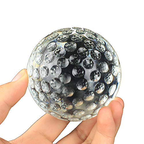 Golf Ball Crystal Glass Paperweight Trophy Gift For Dad or Golf Coach Desk Prop (Base Included)