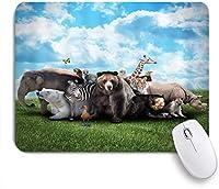 NIESIKKLAマウスパッド 緑の草原の野生動物野生生物 ゲーミング オフィス最適 おしゃれ 防水 耐久性が良い 滑り止めゴム底 ゲーミングなど適用 用ノートブックコンピュータマウスマット