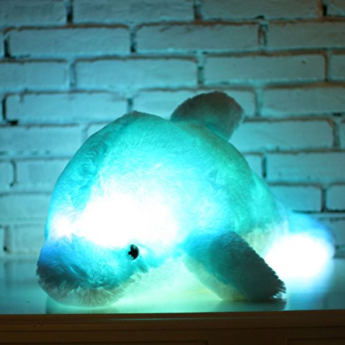 Zinsale 7 Cambio de Color LED aclarar Juguete de delfín Relleno Almohada de Felpa Luz de Noche balancines de Peluche (Blanco, 30cm)