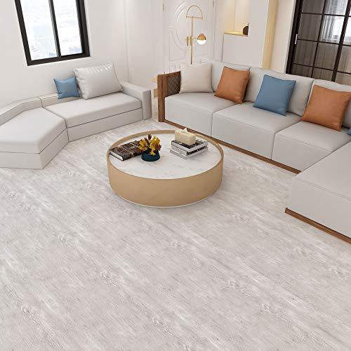 Pavimento in PVC autoadesiva Pavimenti di PVC Aspetto legno 60x500cm Pellicola decorativa Protezione del suolo Pavimento vinilico, spessore 0,35 mm, circa 3㎡ / rotolo, Legno-beige