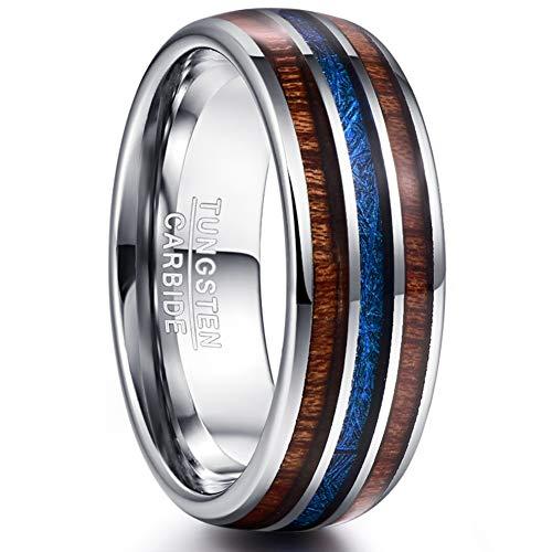 Vakki Herren Wolfram Ring Hawaii Koa Holz und Blau Imitiert Meteorit Inlay Eheringe Verlobungsring Mode Schmuck für Männer/Frauen Größe 62(19.7)