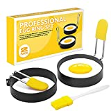 """Egg Rings for Frying Eggs and Egg Muffins, Round Egg Shaper Mold, 2.9"""" Stainless Steel Non-Stick Egg Cooker for Camping Indoor Breakfast Sandwich Burger"""