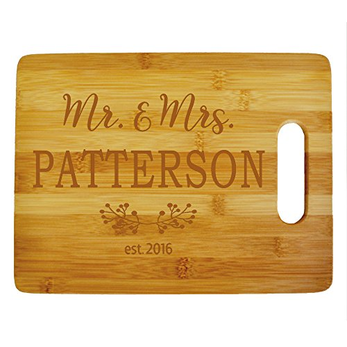 Custom Mr. & Mrs. Cutting Board - Wood Engraved Cutting Board - Personalized Bamboo Cutting Board - Custom Wedding Gifts - Anniversary Gift - Personalized Kitchen Supplies