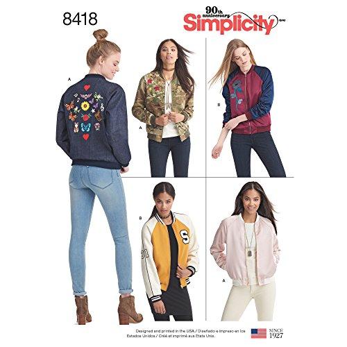 Simplicity 8418Pattern 8418 Damen Bomberjacke, gefüttert, mit Stoff- und Saumvariationen, Papier, Weiß, R5 (40-44-48)