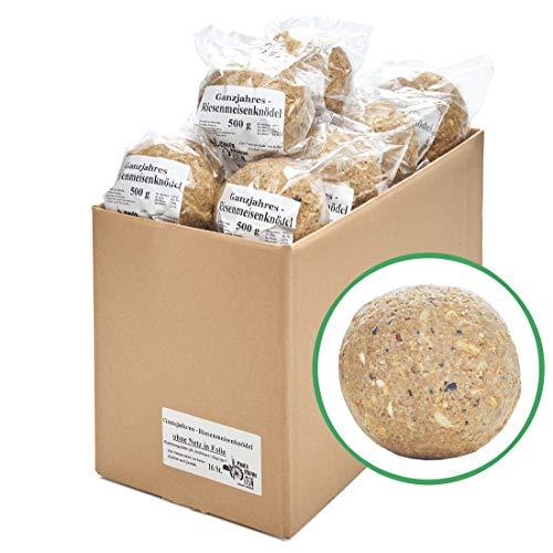 Paul´s Mühle Ganzjahres Riesen-Meisenknödel, Ganzjahresfutter für Wildvögel, reduzierter Schalen- und Nussanteil, ohne Netz, 16 Stück (16 x 500 g)