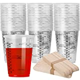 80pcs 8oz Disposable Measuring Cups for Epoxy Resin,Clear Plastic Mixing Cup with 80 Wooden Stirring Sticks for Resin, Stain, Paint Mixing