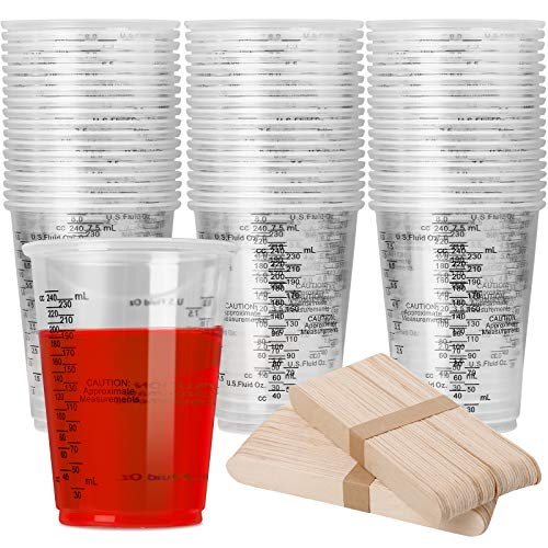 80pcs 8oz Disposable Measuring Cups for Epoxy Resin, Clear Plastic...