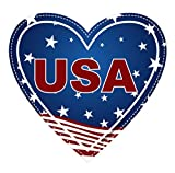 USA Sticker Heart Shaped American Flag Decal Apply To Mug Phone Laptop Water Bottle Cooler Oval Bumper Patriotic Navy Army Marine Military