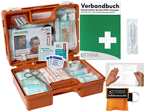 Verbandskoffer/Verbandskasten (K) Typ N - INKL. 90° ARRETIERUNG Erste Hilfe DIN 13157 für Betriebe -DSGVO- INKL. PERFORIERTEM VERBANDBUCH + Notfallbeatmungshilfe