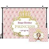 LYWYGG Telón de fondo para niña de 8 x 6 pies, con corona dorada, fondo para fotografía de cumpleaños, foto de estudio, mesa de pastel y decoración de fiesta CP-319