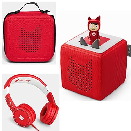 Toniebox Starterset Rot + Ordnungsbox für viele Tonies + Kinderkopfhörer Tonie-Lauscher