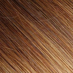 Elailite Extensiones Adhesivas Pelo Natural sin Clip 20 Mechas Largas 55cm 50g Cabello Humano Rizadas Onduladas #4T27 Castaño Medio Ombre Rubio Oscuro