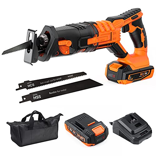 Reciprocating Saw Cordless, 20V 2A MAX Lithium Battery & Charger, 0-3000SPM Variable Speed, Tool-Free Blade Change, 4/5' Stroke Length, Portable Bag - RES004