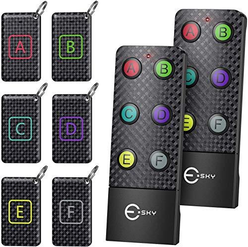 Schlüsselfinder, Esky Key Finder mit 2 RF Sender, schlüsselfinder anhänger mit 6 Empfängern, Haustier Tracker, Wallet Tracker klein, Geschenk für Eltern, Geburtstag, Weihnachten, Vatertag, Muttertag