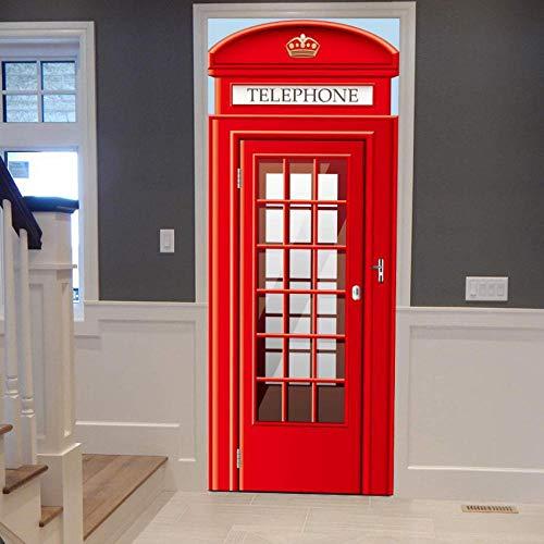 Yqgdss Cabina Telefónica Europea Etiqueta De La Puerta Estéreo 3D DIY Impermeable Decoración del Hogar Papel Tapiz Mural Calcomanías Desmontables Apliques Pintura De Pared Plana
