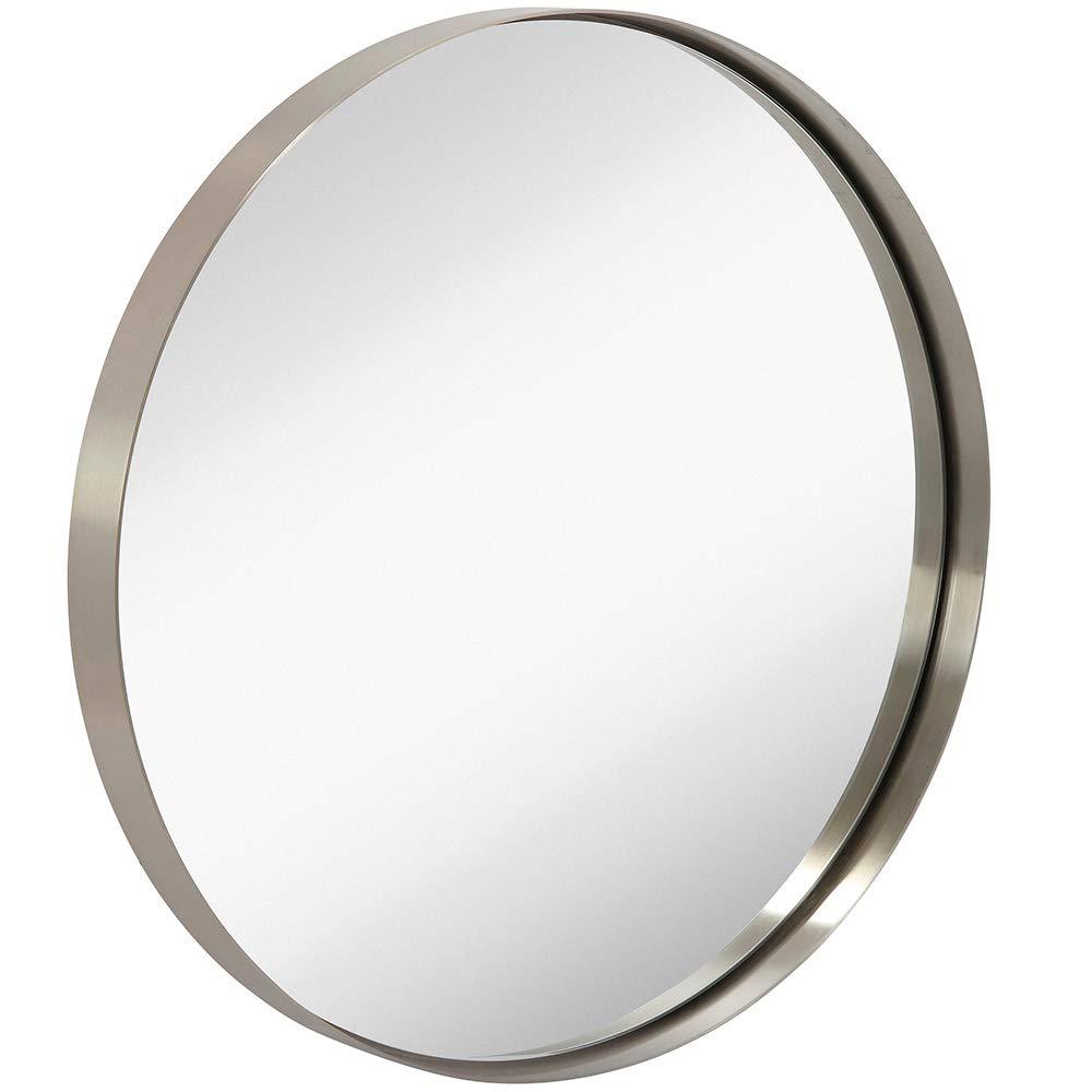 Hamilton Hills 24 Silver Circle Deep Set Metal Round Frame Mirror Contemporary Polished Metal Silver Wall Mirror Glass Panel Silver Framed Rounded Circle Deep Set Design 24 Round Buy Online In