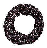 beybey Damen Seide Loop Schal Flamingo Blumen schmal (B schwarz)