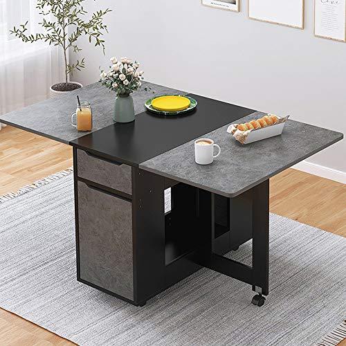 KaminHome - Mesa abatible Comedor Oficina Doris salón Cocina despacho con Ruedas Plegable multiposición Rectangular diseño nórdico escandinavo Minimalista Moderno 135 cm (Gris/Negro)