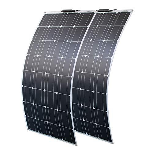 200w Panel Solar Flexible 2 * 100W 12V Módulo Solar Fotovoltaico Monocristalino Ultra Ligero Impermeable Cargador Solar para Autocaravana, Techo, Caravana, Barco y Superficies Desparejas(2 * 100W)