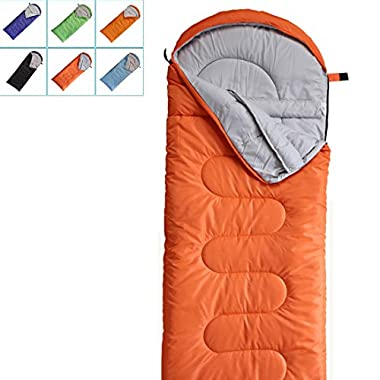 FARLAND Camping Sleeping Bag-Envelope Mummy Outdoor Lightweight Portable Waterproof Perfect for 20 degree Traveling,Hiking Activities(Mandarin Red/Left Zip, Rectangular)