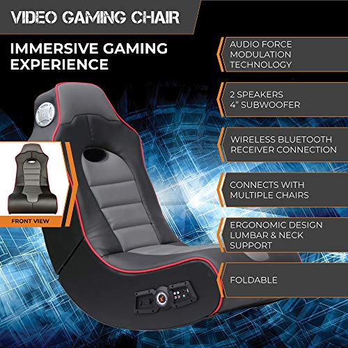 X Rocker, 5172601, Surge Wireless Bluetooth 2.1 Sound Video Gaming Floor Chair with Bonded Faux Leather and Mesh Upholstery, 36.81 x 32.28 x 20.89, Black/Red