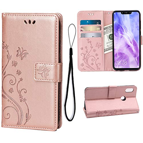 Wallet Case for Huawei Nova 3, 3 Card Holder Embossed Butterfly Flower PU Leather Magnetic Flip Cover for Huawei Nova 3(Rose Gold)
