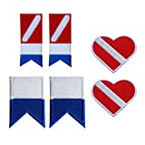 IPOTCH 3 Paare Alpha Flag Diver Down Flag Patch Abzeichen Tauchen Bestickte Dekorative Patches Für...