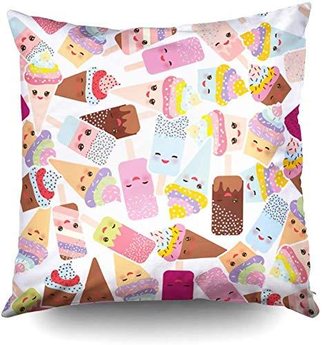 Funda de almohada de tamaño estándar, diseño sin costuras, con helado de crema en conos de gofres, helado Kawaii con mejillas rosas y ojos guiñosos, colores pastel sobre fondo blanco Vector 16x16 Inc