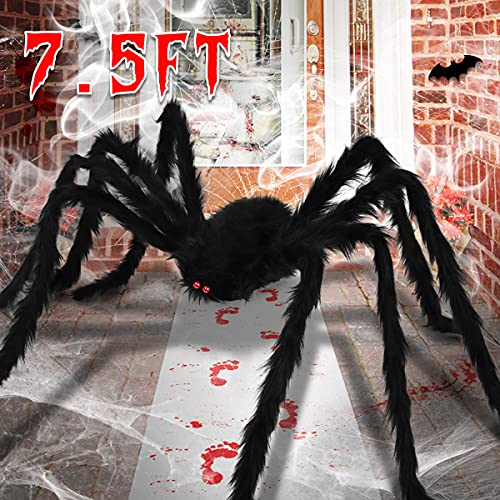 Aitok 7.5FT Halloween Spider Decorations, Large Fake Hairy Spider for Indoor Outdoor Halloween Decor Outside, 90 Inch…