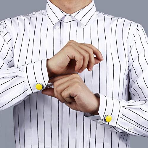 メンズボタンカバーカラーボタンカフスおしゃれかわいいカフスボタン人気アクセサリーメンズ(黄)