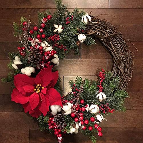Alicer - Corona di Natale decorativa con fiori artificiali, per porta, decorazione da parete, decorazione per matrimoni