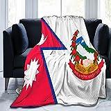Flanell-Decke mit Flaggen von Nepal, flauschig, bequem, warm, leicht, weich, für Sofa, Couch, Schlafzimmer