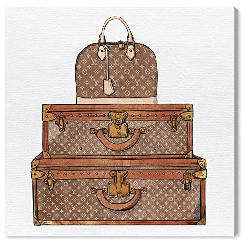 The Oliver Gal Artist Co. Fashion and Glam Wall Art Canvas Prints 'Royal Bag and Luggage' Home Décor, 43' x 43', Brown, Brown