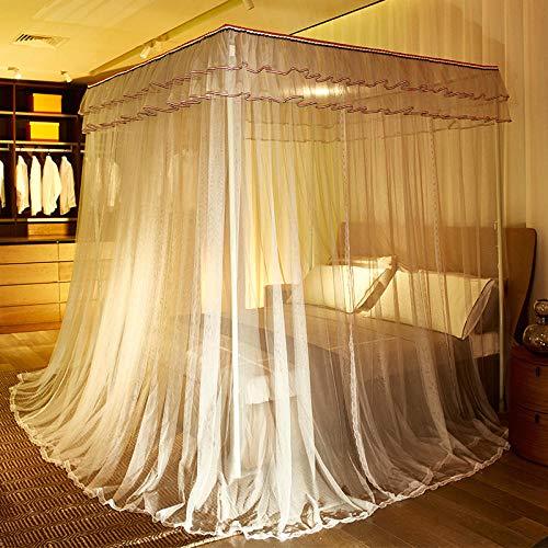 Palace Mosquito net Floor Palace Muggennet IJzeren Verf Beugel Drie Deuren 180 * 200 cm Grijs