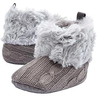Star Eleven Newborn Kids Baby Girls Snow Shoes Winter Soft Sole Prewalker Crib Plush Boots (12, Gray)