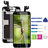 for iPhone 6s Screen Replacement Black, LCD Display and Touch Digitizer Replacement (A1633, A1688, A1700) w/Home Button Proximity Sensor, Ear Speaker, Front Camera, Screen Protectorand Repair Tool