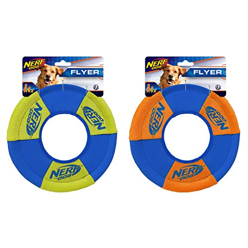 Nerf Dog Toss and Tug Ring Dog Toy, Frisbee, Lightweight, Durable and Water Resistant, 9 Inch Diameter, For Medium/Large Breeds, Two Pack, Green and Orange