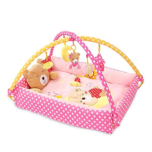 SONARIN Lindo Bear Alfombras de juego Gimnasio de Actividades Baby Play Mat & Activity Gym con juguetes para Actividades,almohada de oso, cama pequeña,Colorido e interactivo(Rosado)