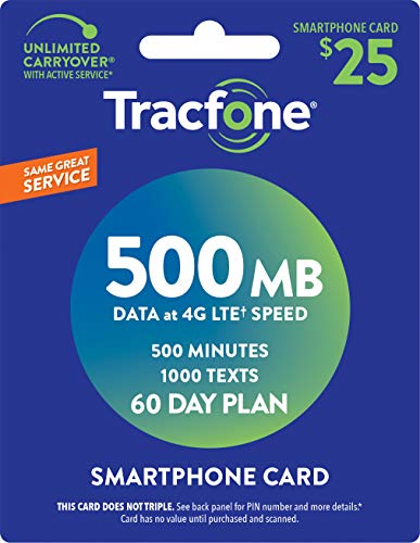 Tracfone Smartphone Only Airtime Service Card - 500 Minutes - 1000 Texts - 500 mb data -  ogewda-015