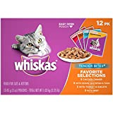 WHISKAS TENDER BITES Favorite Selections Variety Pack Wet Cat Food Pouches 3...