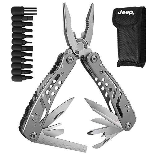 Multi Tool Pliers 12-in-1 Pocket Foldable Multitool Durable Stainless Steel for Hunting Fishing Hiking Camping Outdoor Survival with 12Screwdriver Bits & Nylon Sheath