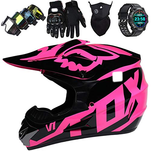 Casco de Motocross Niños con Gafas y Reloj Deportivo Inteligente Casco de Moto Jóvenes Adultos Casco MTB de Integrales para Off Road Enduro Downhill ATV MX, con Diseño FOX, Negro Brillante Rosa,M