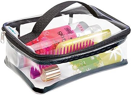 mDesign Bolsa Viaje Accesorios - Bolsa Playa o para artículos de higiene y cosméticos - Bolsa Multiusos Color Transparente/Negra