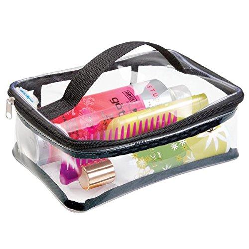 mDesign Reisetasche für Accessoires – Tasche für Strand, Pflegeprodukte oder Kosmetik – transparent/schwarz