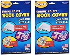 Shrink to Fit Book Covers, One Size Fits All, Heat Shrink (2 Per Package)